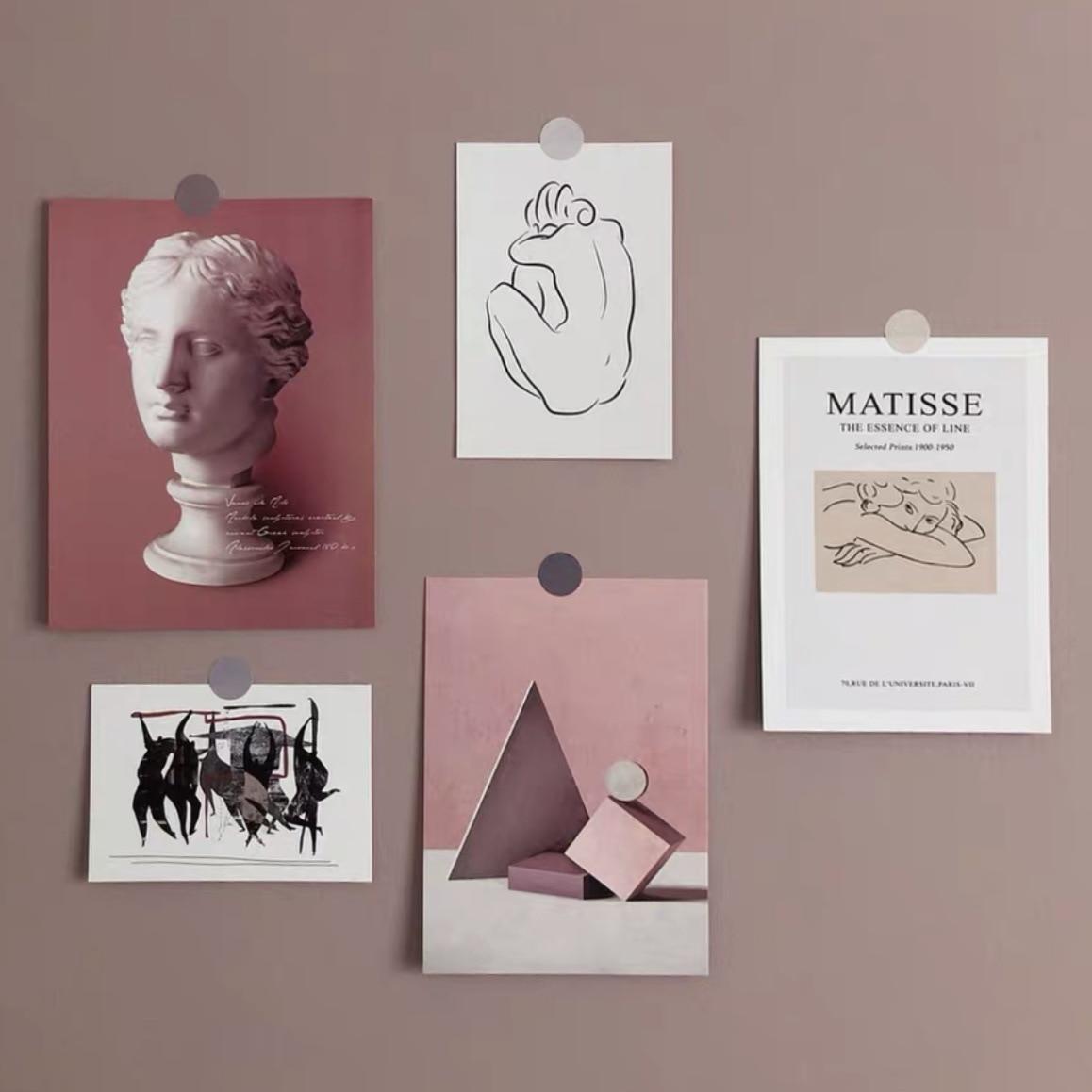Ins 5 листов Ретро абстрактная Художественная открытка декоративная открытка «сделай сам» фоновая Наклейка на стену реквизит фото поздравит...