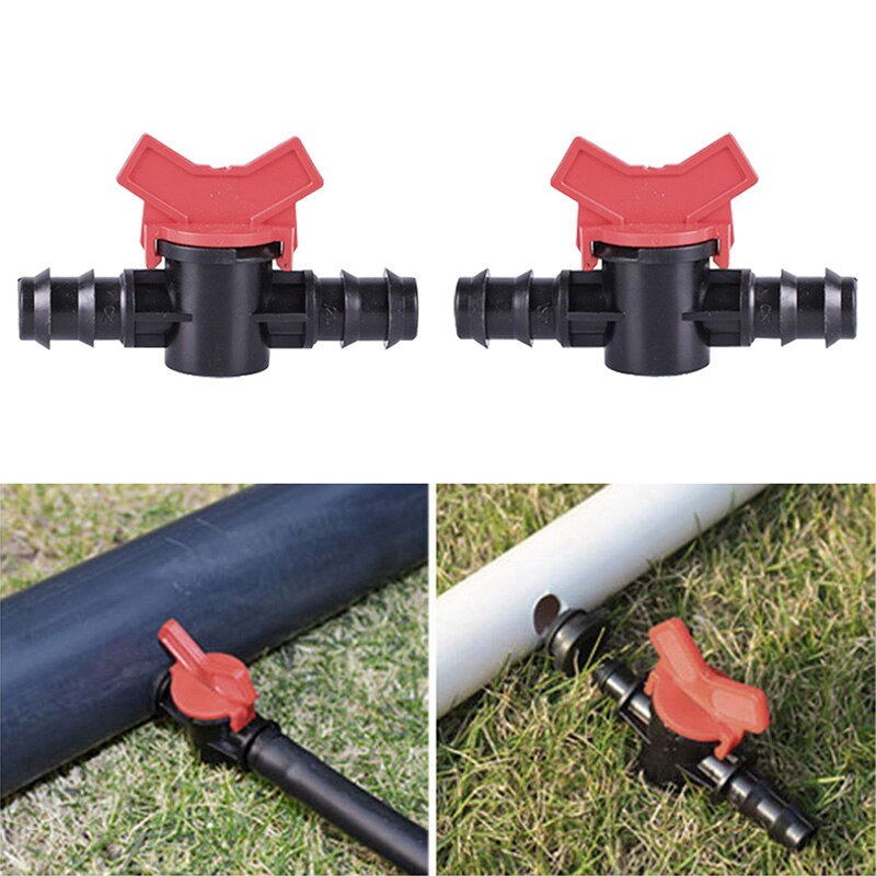 16mm 20mm PE junta de tubería de agua válvula de bola miniatura, riego por goteo Manguera con tuerca Bloqueo de junta interruptor de agua de alta calidad