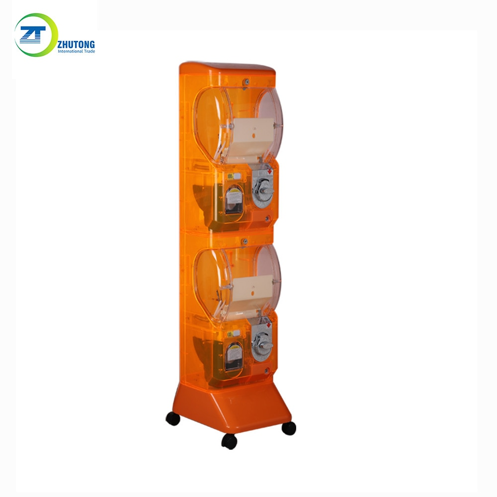 Zhutong automatic coin token operated vending machine amusement capsule egg toy gacha rubber bouncy ball crystal vending machine