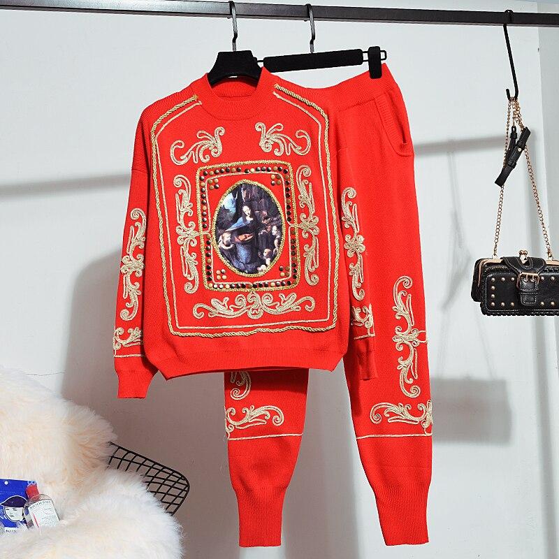 Outono inverno casual chique vermelho agasalho duas peças conjunto de malha bordado camisola + malha longa harem calças terno feminino solto 2 pçs
