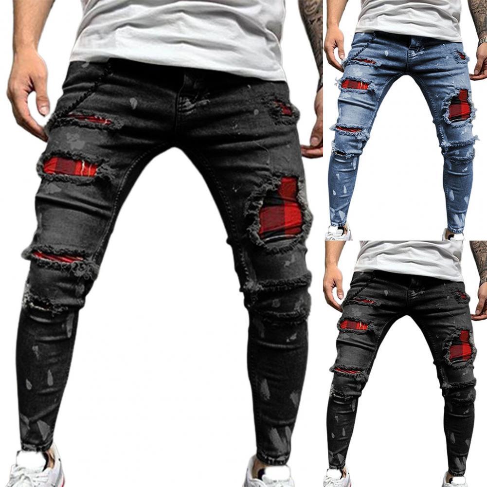 Джинсы мужские рваные с несколькими карманами, модные эластичные облегающие джинсы со средней талией, с бахромой, с дырками, уличная одежда