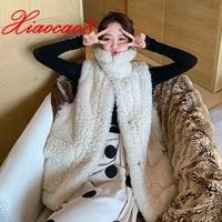 new style autumn winter warm long vest jacket women solid imitation lambswool waistcoat plus size 3xl fashion colete feminino