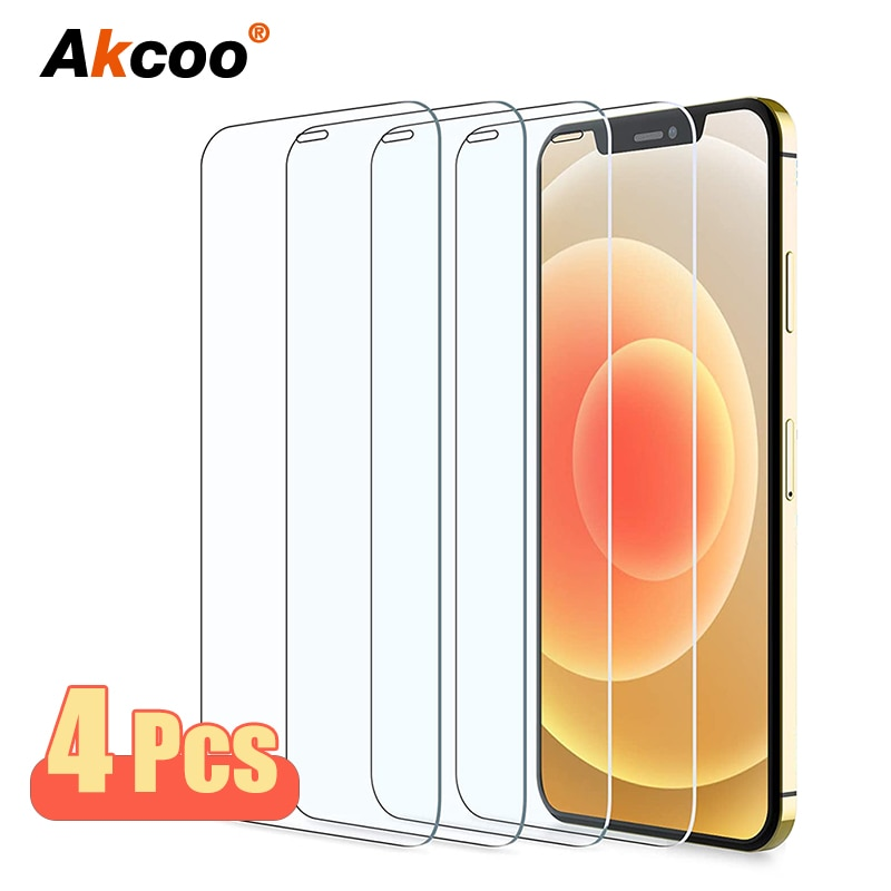 4 Pcs Tempered Glass for iPhone 12 Pro Screen Protector for iPhone 6s 7 8 XR XS 11 Pro Max 12 mini C