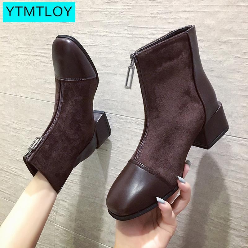 2020Fashion Ankle Boots Women  Flats Boots Winter Shoes Woman Warm Non-Slip Black Brown Women Boots Designer Shoes Women