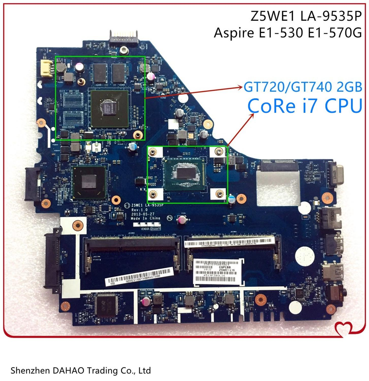 Nbmes11007 nb. mes11.007 z5we1 LA-9535P para acer aspire E1-570 E1-570G computador portátil placa-mãe withgt720m/740m gpu sr0xg I7-3537U cpu