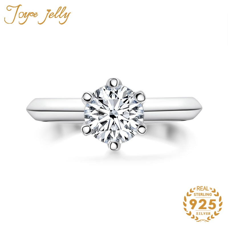 JoyceJelly 2 قيراط الطبيعي Moissanites حلقة 925 فضة 6 مخالب مجوهرات الزفاف غرامة هدية لصديقة زوجة الجملة