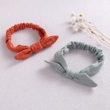 Baby Elastic Hair Bands Girl Headband Cotton Linen Kids Headwear Knot Hair Accessories Toddler Rabbit Ear Turban Playa Ties Soft