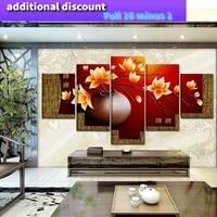 Vase a fleurs sur toile  5 pieces  peinture a lhuile imprimee artistique  peintures modulaires pour salon  decoration murale  maison   25