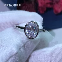 ainuoshi 925 sterling silver 6x8mm oval cut simulated sona diamond engagement rings for women anniversary wedding rings