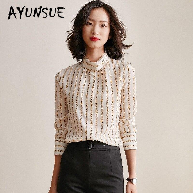 Real Silk Shirt Women Korean Spring Autumn Print Office Lady vintage Women Blouses 2020 Blusas Mujer De Moda S02219 YY2831