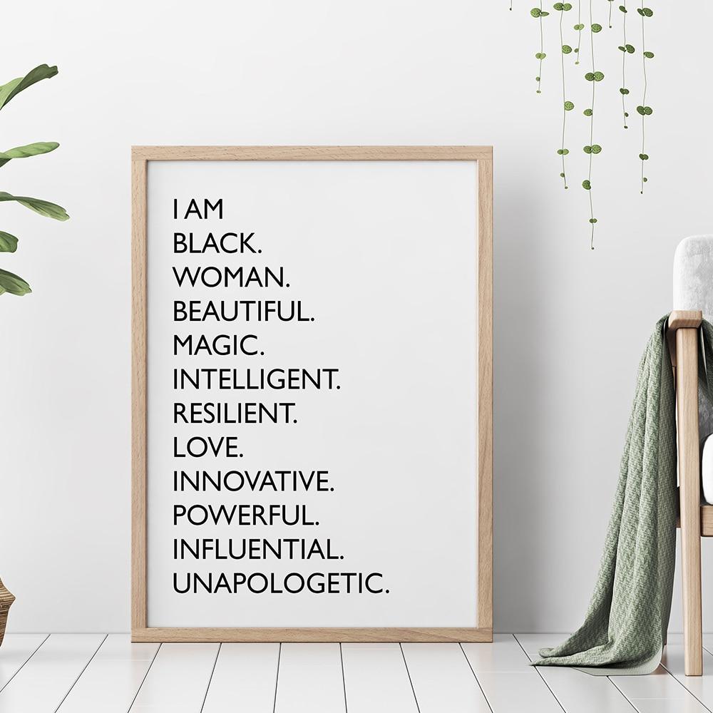Eu sou preto citação pintura da lona preto branco africano americano mulher posters e impressões nordic arte da parede fotos para sala de estar