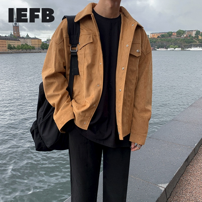 Iefb Voorjaar Nieuwe Mannen Revers Jas Korte Jas Koreaanse Mode Jeugd Suède Jas Enkele Breasted Dubbele Zakken Werkkleding 9Y5273