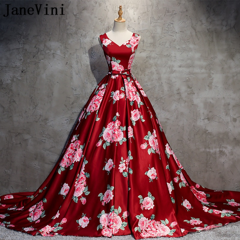 JaneVini 2020 Floral Printed Quinceanera Dresses Sweet Sixteen Vintage Ball Gown Court Train Satin Prom Gowns verkleedkleding