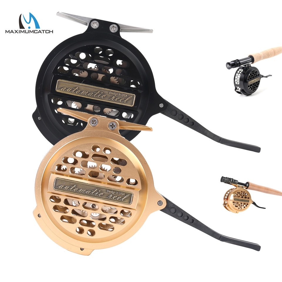 Maximumcatch Automatic Fly Fishing Reel Y4 70 2+1 BB Super Light Aluminum Fly Reel Black/Gold Color