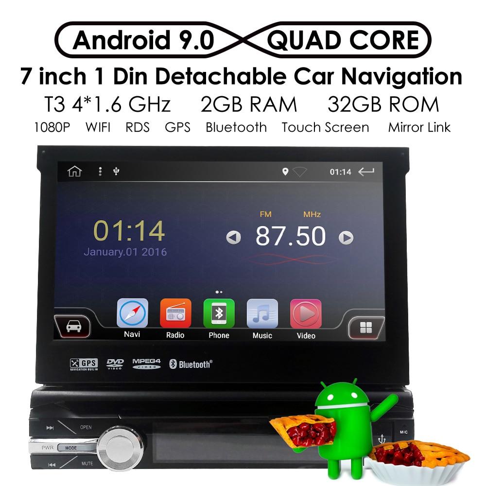 1 Din Android 9,0 HD 1080P HD reproductor de DVD de coche Radio para coche Universal Radio Monitor de 7 pulgadas 4G WIFI GPS navegación cabeza 2G + 32G RDS