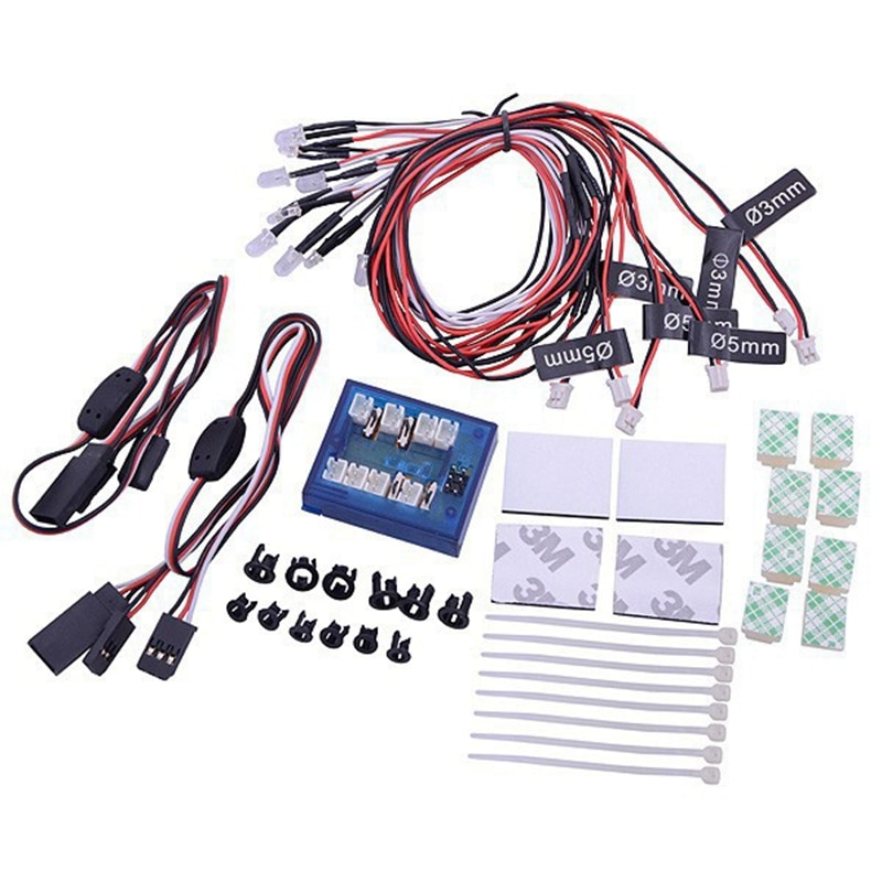 8 Leds lámparas LED del coche de luz estroboscópica de Kit de luces para 1/10, 1/8 HSP TAMIYA CC01 D90 SCX10 RC modelo de coche