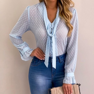 Womens Tops And Blouses Fashion Button Tie Polka Dot Long Sleeve Shirt Sexy See Through Top Women Sexy Shirt Transparent Top