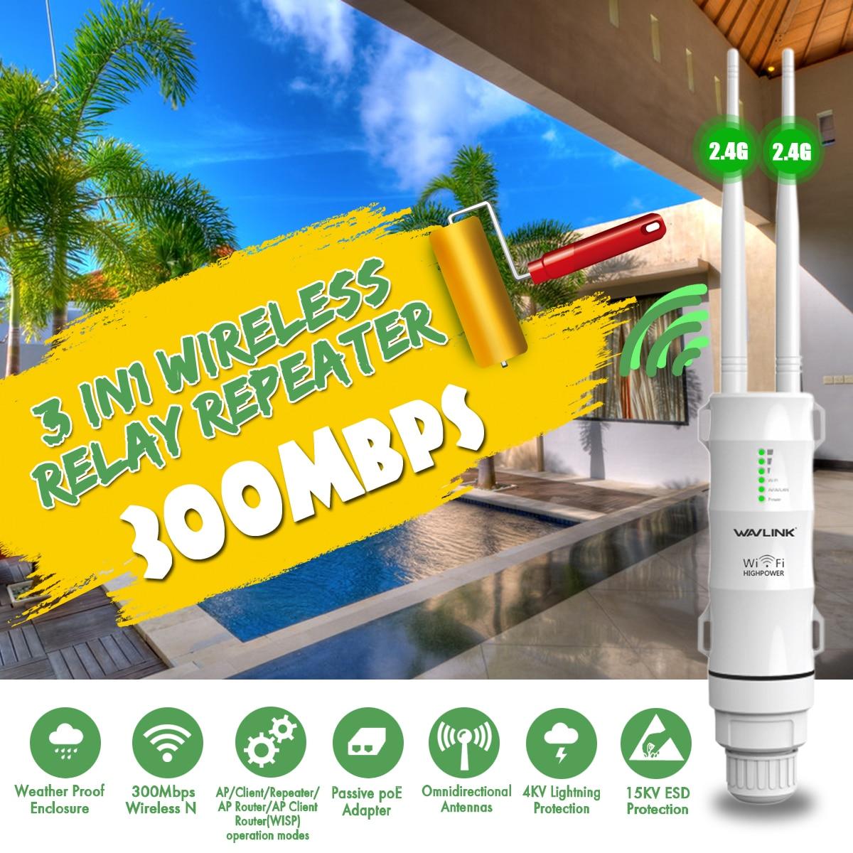 Repetidor de Relé inalámbrico Wavlink 3 en 1 WN570HN2 Wifi extensor de alta potencia al aire libre Wifi repetidor 2,4G/300Mbs Router Wifi inalámbrico