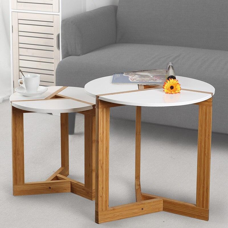 Mesa de chá mesa de centro para escritório de madeira redonda revista prateleira pequena mesa de bambu móveis do quarto sala estar