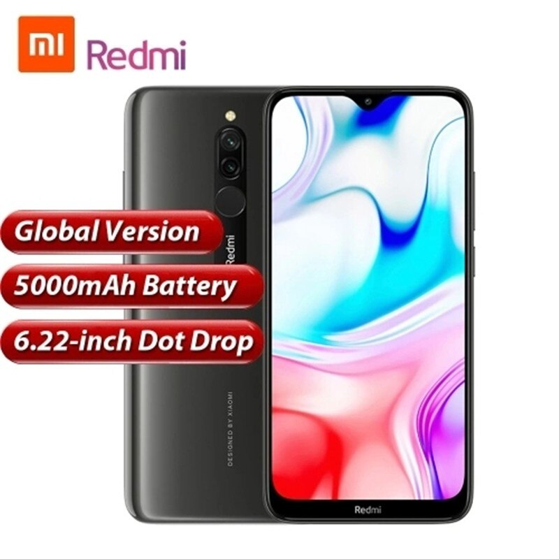 Xiaomi Redmi 8 оригинальная глобальная версия 4 Гб 64 Гб 6,2 полный сенсорный экран заднего 12MP спереди 8MP камера распознавания лица смартфон