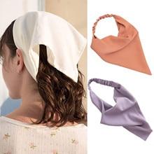 Solid Color Triangle Bandanas бандана Headbands Hair Scarf бандана женская Hairbands Turban Elastic hair accessories bandana