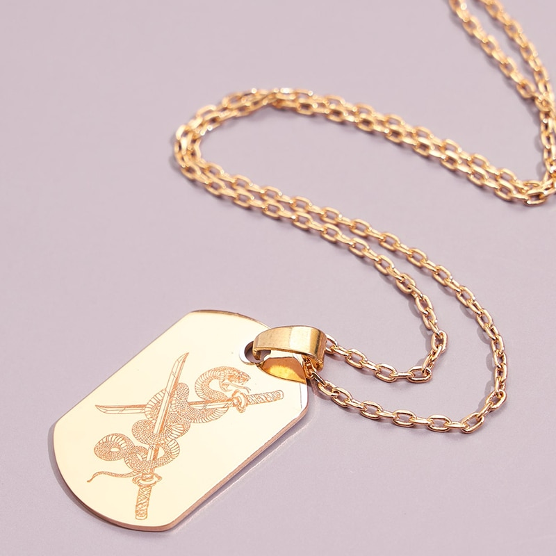 Aprilwell Serpentine Tag Pendant Necklace For Women Aesthetic Gothic Clavicle Chain Gold Shield Laser Cross Sword 2021 Jewelry