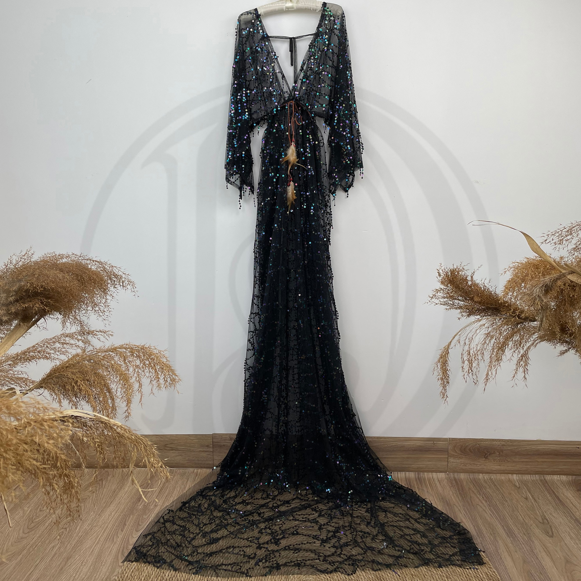 Spring Session Photography Sequent Dress Maternity Robe Pregnant Kaftan Photo Shoot  Boho Evening Party Sparkle Prom Women Cloth