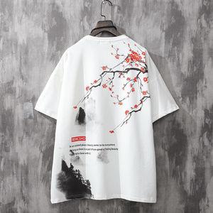 Cute Flowers Print T Shirt Male Japan Short Sleeve T-shirt White Summer Couple Funny Clothes Hip Hop High Street Harajuku Tops