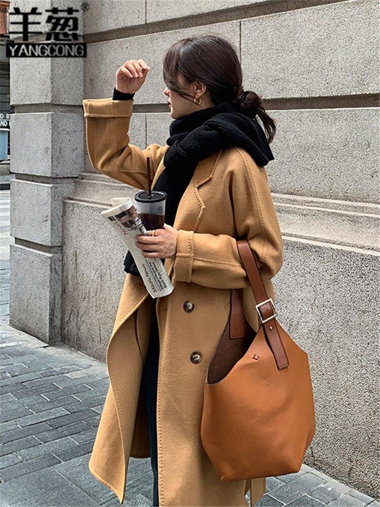 مزدوجة الوجهين معطف من قماش الكشمير المرأة متوسطة طول الخريف الشتاء 21 جديد مزدوجة الصدر 100% الصوف معطف تويد الكورية نمط