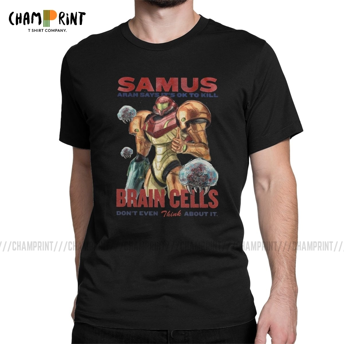 Samus dice que está bien matar células del cerebro T Shirt hombres Vintage Camiseta cuello redondo Super metroide camiseta cumpleaños presente camisetas