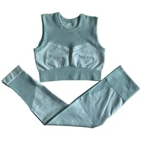 seamless yoga sets women gym clothes fitness high waist leggings cropped top vest shirts bra sportswear workout set