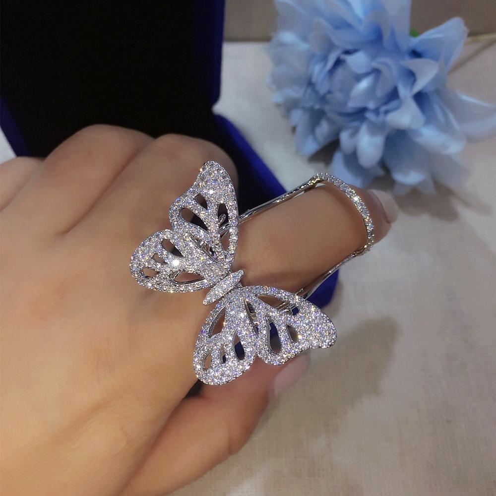 Bilincolin moda micro-zircão oco abertura móvel anel borboleta asa anel para presente feminino