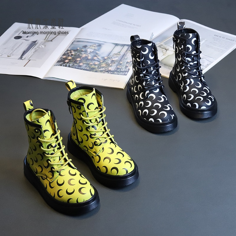 Children's Martens Boots Girls Shoes Autumn And Winter Single Boots 2021 Newtrend  Boy's Ankle Boot Big Fashionable Shoes