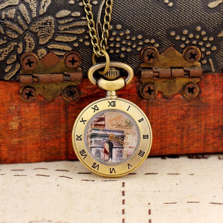 2020 New Fashion Men and Women Ancient Style Pocket Watch Quartz Bronze Pocket WatchSteampunk Antique Printing Relogio Masculino