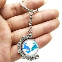 fashion marine animal cute dolphin double sided rotating crystal pendant keychain glass convex round keychain children gift