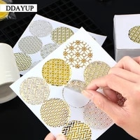 90pcslot transparent foil gold label sticker circular sealing label sticker pvc transparent diy label diameter 4cm