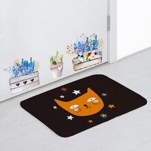 Poilu mignon tapis de sol Orange étoiles crâne sorcière dessin animé tapis maison salle de bain 40*60Cm antidérapant en caoutchouc décoration Halloween tapis de porte