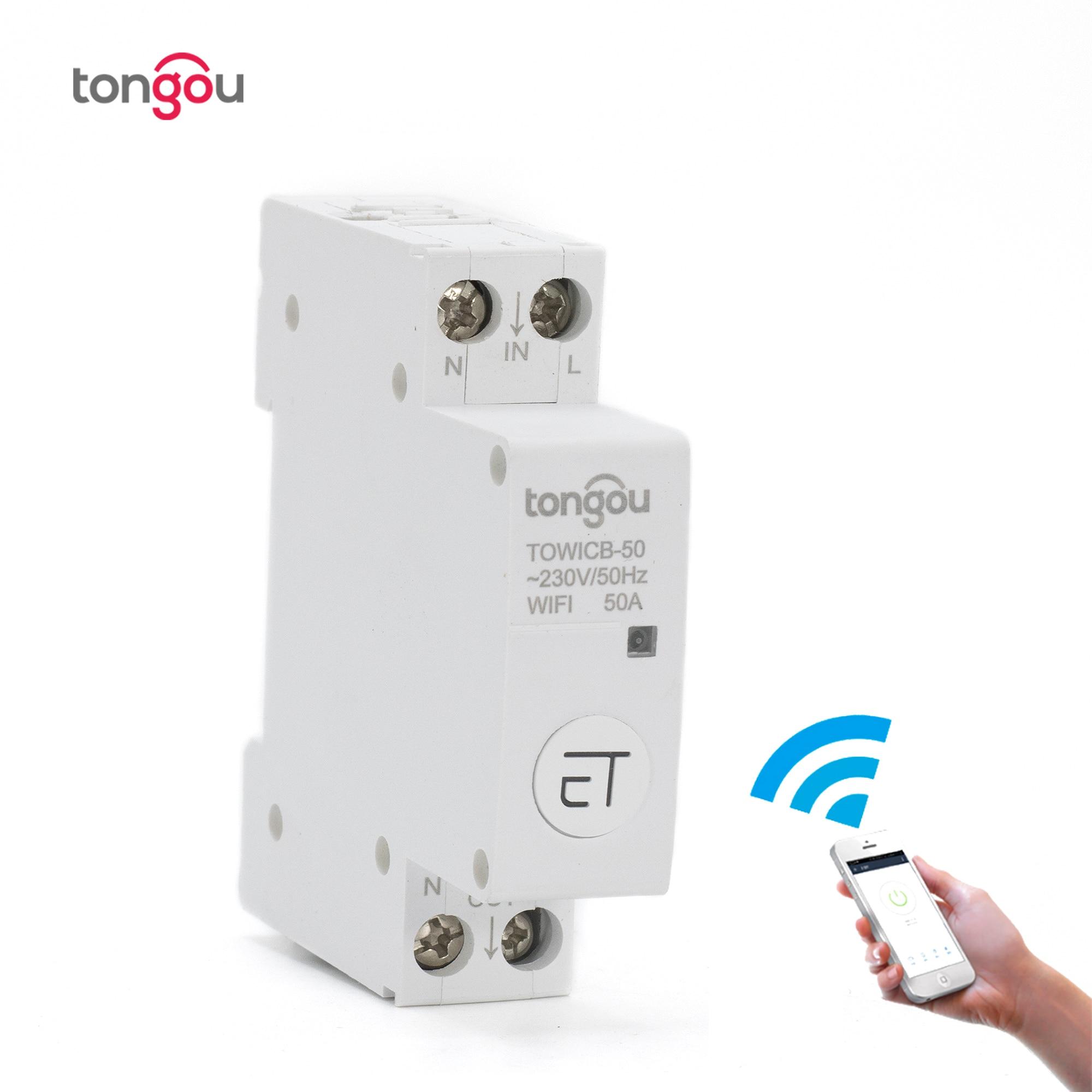 Interruptor de circuito WiFi Control remoto por eWeLink APP Control de voz con Amazon Alexa Google Home 18mm carril Din interruptor principal TONGOU