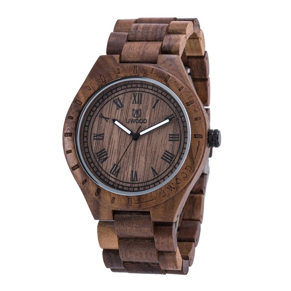 Montre en bois hommes erkek kol saati luxe élégant bois montres chronographe militaire Quartz montres bois cadeau luxe bois