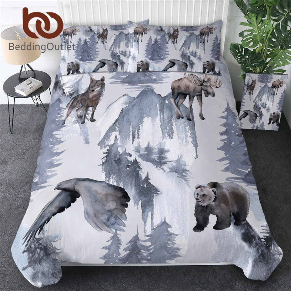 BeddingOutlet animales salvajes textiles para el hogar bosque funda de edredón con funda de almohada Elk oso águila juego de cama acuarela ropa de cama rey