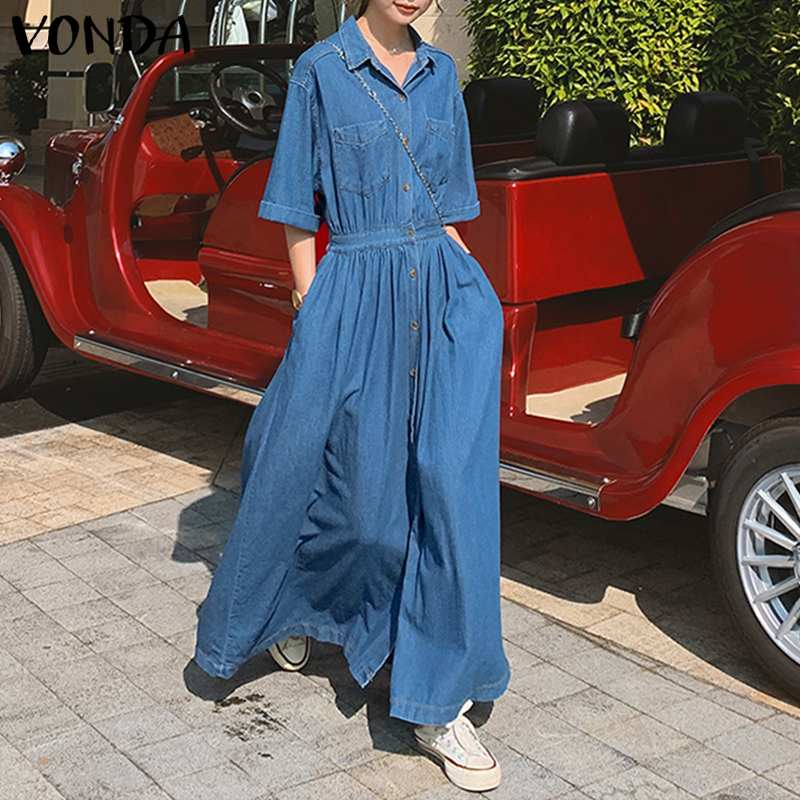 bohemian women maxi long dress 2019 vonda summer o neck long sleeve pattern print dresses casual loose party vestidos plus size VONDA Women Shirt Dress Casual Denim Short Sleeve Lapel Button Down Long Dresses Bohemian Party Vestidos Plus Size Sundress