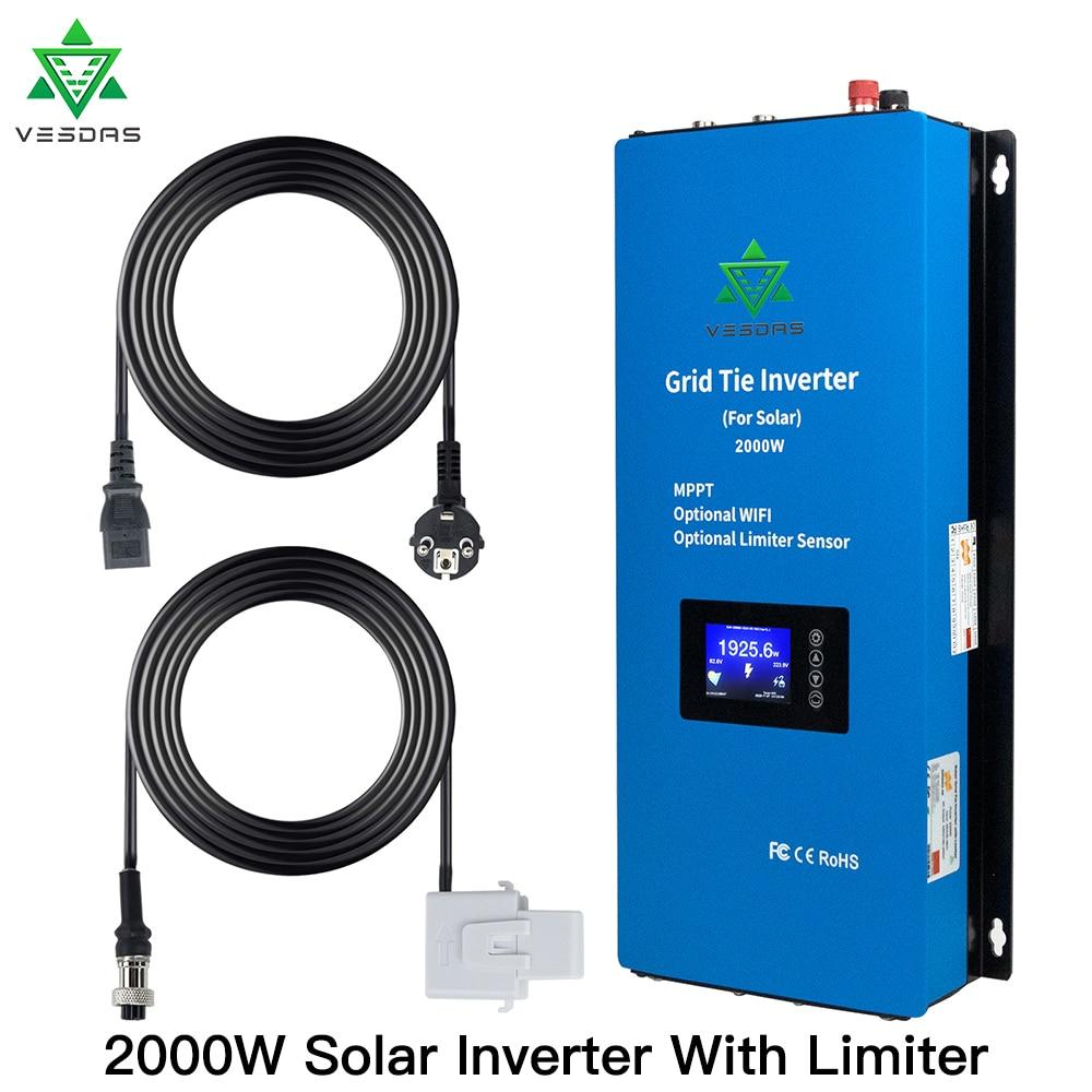 2000W Microinverter MPPT On Grid Tie Inverter Micro Solar Converter Regulator With Limiter Sensor 45-90V DC For PV 350W 400W