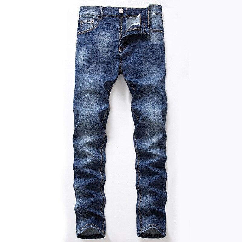 Mens Jeans Classic Retro Nostalgia Straight Denim Pants Men Plus Size 28-42 Men Long Pants Loose Straight Trousers
