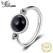 Bijoux palace véritable noir Onyx bague Solitaire 925 en argent Sterling anneaux pour les femmes bague de fiançailles en argent 925 pierres précieuses bijoux