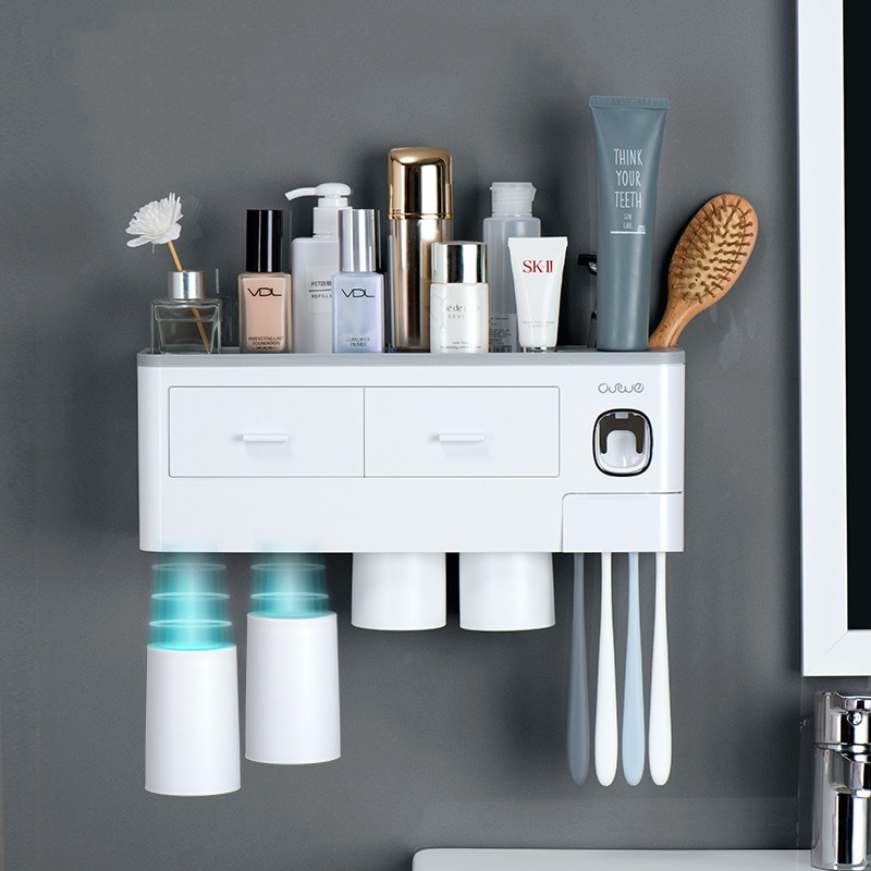 Magnetic Adsorption Inverted Toothbrush Holder Automatic Toothpaste Dispenser With Cup Toothpaste Bathroom Accessories Set enlarge