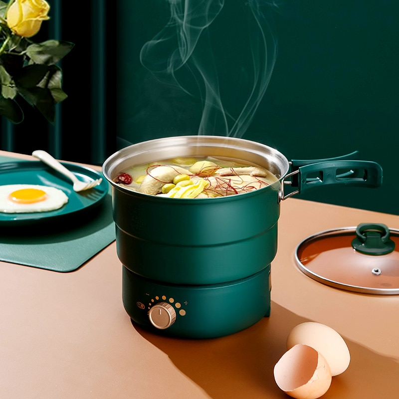 1.6L Electric Cooking Pot Foldable Hotpot Portable Multi-cooker Split Type Rice Cooker Electric Frying Pan For Home Travel 220V