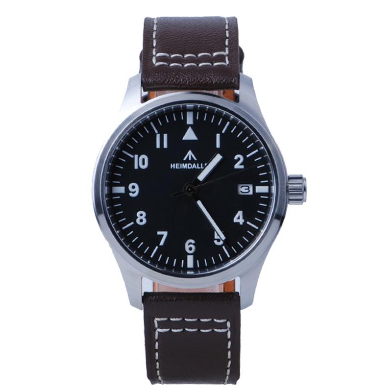 Masculino com Mostrador Preto e Safira Relógio de Piloto Kit de Relógio Nh35a com Resistência à Água de 150m e Vidro de Safira Diver