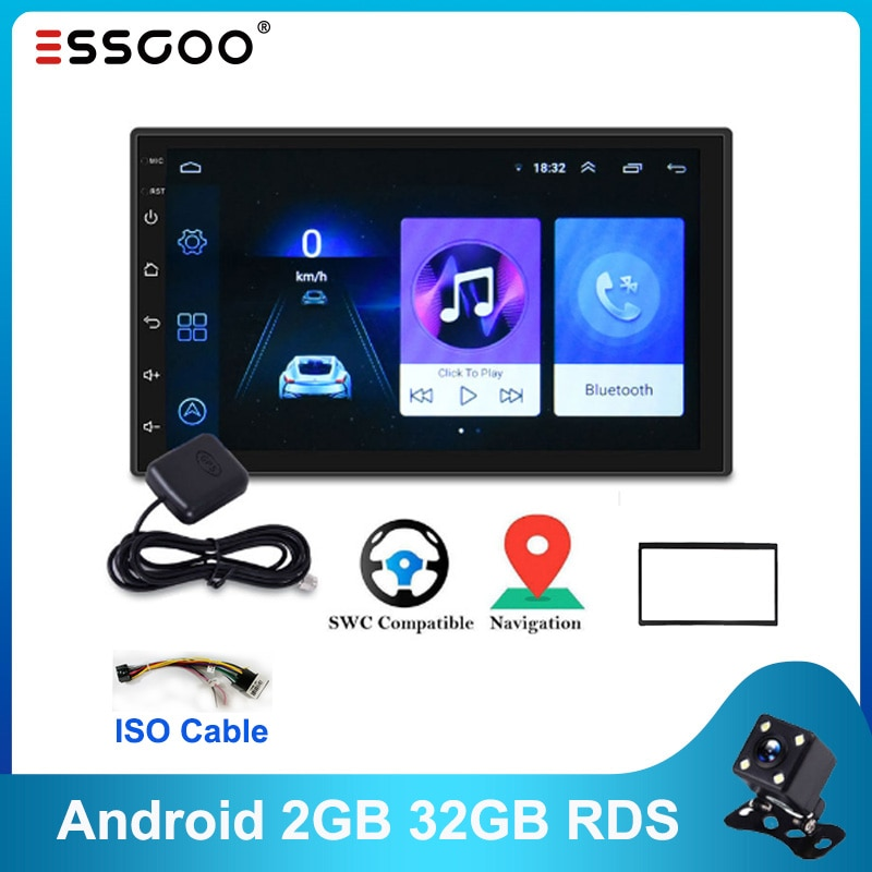 Essgoo Android Autoradio RDS 2GB+32GB 1GB+16GB Car Radio Gps Navigation Universal Auto Radio Wifi 2Din Central Multimidia Player