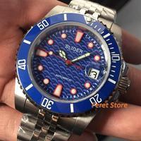 40mm Bliger Top Luminous Blue dial steel case luxury Sapphire ceramic bezel Sapphire date MIYOTA automatic men's Watch