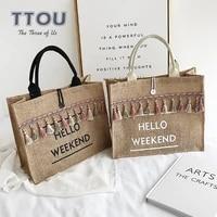 famous brand linen bag letter pattern women handbag leisure office lady shoulder bags female shopping large capacity bag